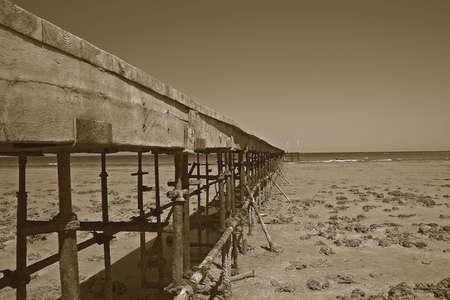 Pontoon on a beach of Red Sea  photo