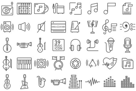 Set of music thin line icon. Contains such as group of wave, musical instrument, drum, speaker, mixer. Stock Illustratie