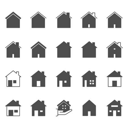 Set of house icon. Simple outline residence property. Real estate vector symbol 320x320 pixels.