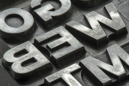 Old lead ink printing type from a book printing company Reklamní fotografie