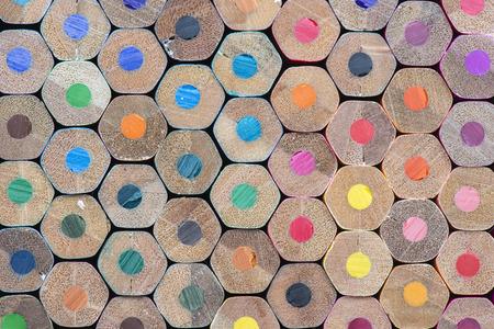 coloured pencil: Abstract composition of a set wooden colour pencils Stock Photo