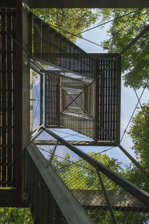 lookout: Lookout Tower in a Drents forest near Exloo in the North of the Netherlands