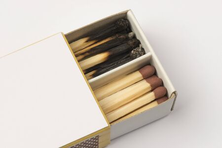 burned out: Cardboard matchbox with new and used matches