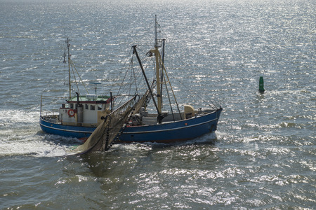 shrimp boat: Fishing boat on the Dutch Wadden Sea