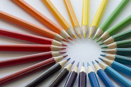 complementary: Color circle of pencils with complementary colors Stock Photo