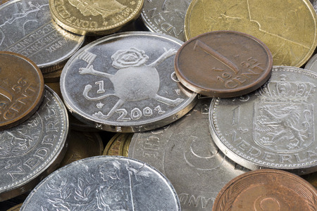 out dated: old European coins before the introduction of the Euro Stock Photo
