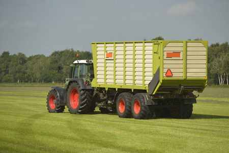 cut the grass: Agriculture, transport of cut grass with green tractor and grass trailer
