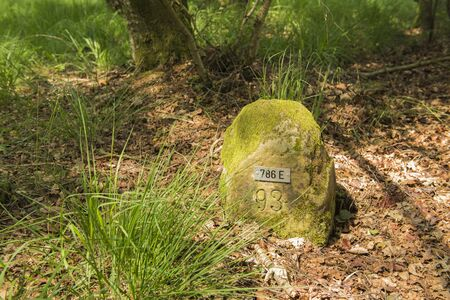 Historic boundary stone Germany Netherlands