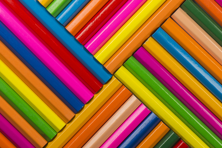 colored powder: Abstract composition of a set wooden colour pencils Stock Photo