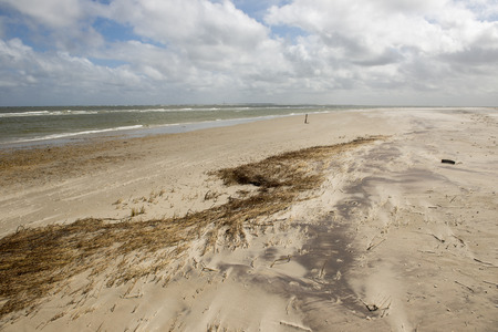 gusty: Eastern beach of Terschelling with a view on the lighthouse of the island Ameland Stock Photo