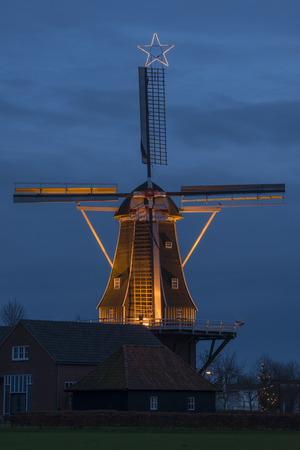 renovated: Authentic renovated windmill in Winterswijk in the east of the Netherlands in special illumination