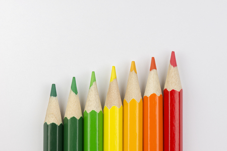 successor: Conceptual crayons Represented as successor energy label colors Stock Photo