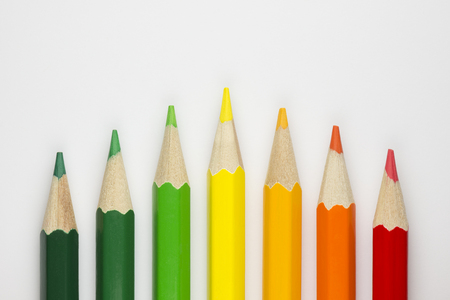 inefficient: Conceptual crayons Represented as successor energy label colors Stock Photo