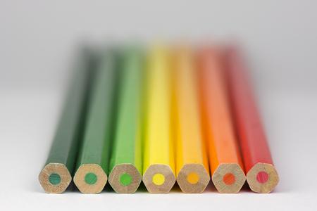 g alphabet: Conceptual crayons Represented as successor energy label colors Stock Photo