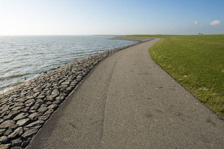 dikes: The so-called Wadden dyke on the island of Terschelling in the North Sea in the Netherlands Stock Photo