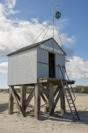 stair well: Famous authentic wooden beach hut for shelter, on the island of Terschelling in the Netherlands. Stock Photo