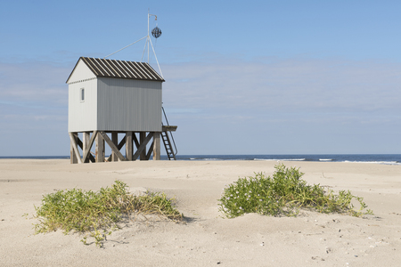 hut: Famous authentic wooden beach hut for shelter, on the island of Terschelling in the Netherlands. Stock Photo