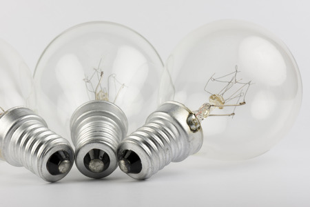perish: Collection of old lightbulbs as a background image Stock Photo
