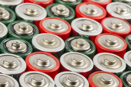 green energy: Collection of old polluting non rechargeable batteries