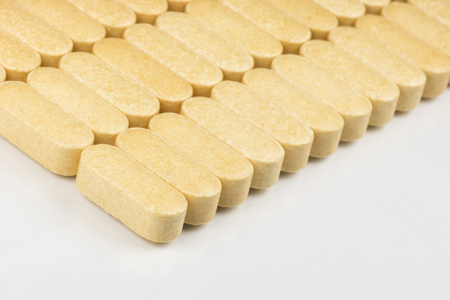 resistance: Collection of vitamin tablets to boost the resistance Stock Photo