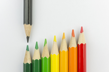 successor: Conceptual crayons represented as successor energy label colors with black pencil That indicates the energy label