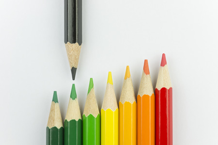 inefficient: Conceptual crayons represented as successor energy label colors with black pencil That indicates the energy label