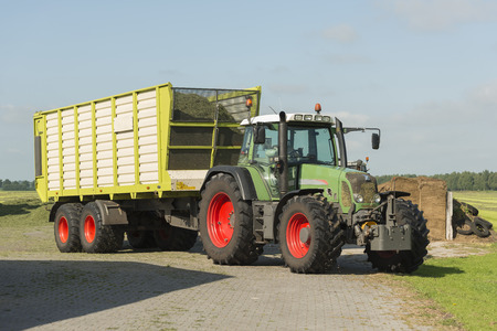 cut the grass: transport of cut grass with tractor and loader wagon in the summer