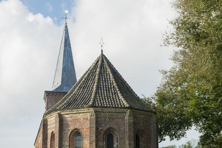 rooftiles: Little church of the town Hoorn on the island of Terschelling in the North of the Netherlands