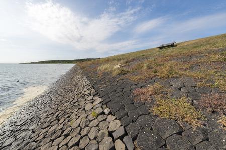 Dike on the island of Vlieland near the village Oost-Vlieland in the Netherlands
