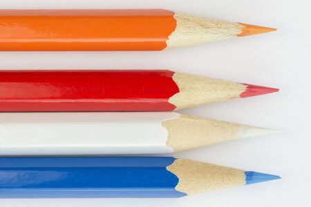 Collection of colorfull pencils in the colors of the Dutch flag as a background picture Stock Photo