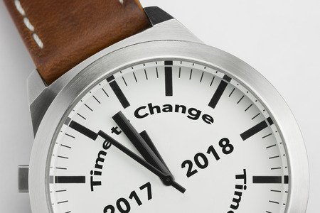 Analog watch with conceptual visualization of the text Time to Change 2017 2018 Stock Photo