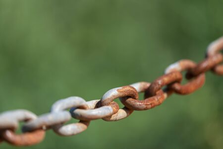 Old rusty chain against a green background blur