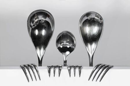 Cuterly Family of three metal spoons and four forks against a white background