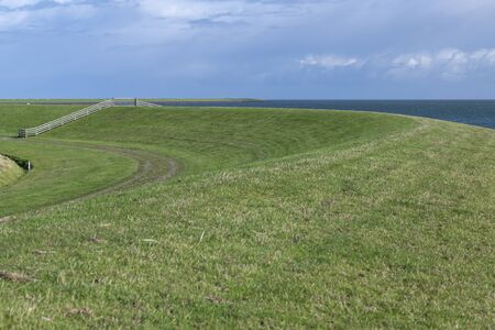 The green sea dike on the Dutch island of Terschelling, in the northern part of the Netherlands