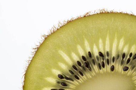 Part of a cut kiwi fruit in backlight foto shot  Reklamní fotografie