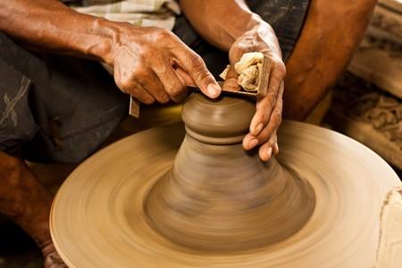 ceramics, clay, craft, craftsman, earthenware, handicraft, home-made, jug, loam, master, pot, potter, pottery, skilled, trade, wheel, workman Stock Photo