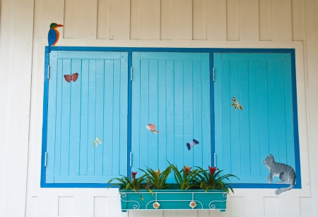 Blue wooden close window on white wall Stock Photo - 13615938
