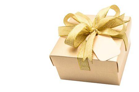 Golden gift box on white background