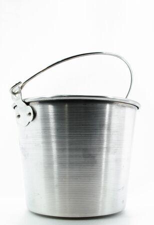 Metallic bucket isolated on white background   Metallic bucket isolated on white background  photo
