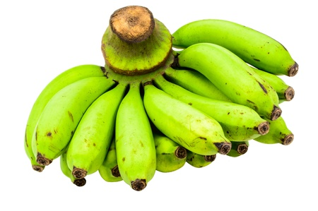 Green Bananas Raw Bunch Isolated On White Background  photo