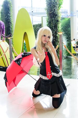 Bangkok - August 26   An unidentified Japanese anime cosplay pose in Japan Festa in Bangkok 2012 on August 26, 2012 at Siam Paragon, Bangkok, Thailand