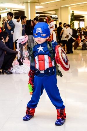 Bangkok - August 26   Captain America cosplay pose in Japan Festa in Bangkok 2012 on August 26, 2012 at Siam Paragon, Bangkok, Thailand
