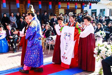 Daegu - January 17   A performance of the Traditional Wedding of Thananya   Park Jin Hyun at Korean Folk Village on January 17, 2010 in Daegu, South Korea  Editöryel
