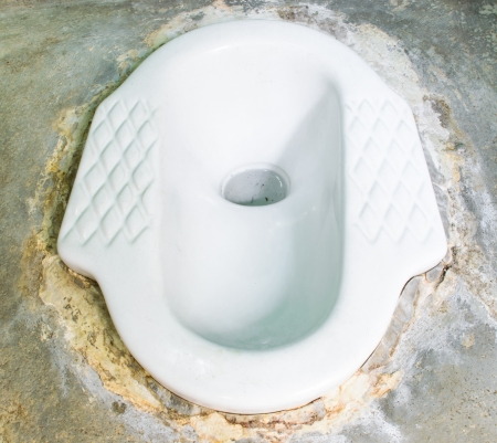 septic: Ceramic lavatory with septic tanks on cement floor
