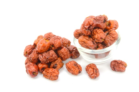 Dried Chinese Jujubes Fruits on white background  Stock Photo