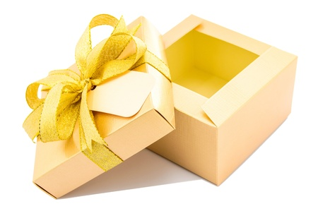 Golden gift box open up on white background