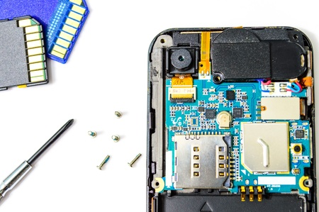 Smart phone repair isolated on white background  Stock Photo