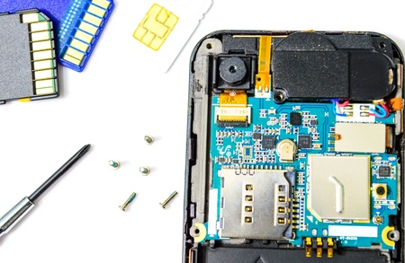 cordless phone: Smart phone repair isolated on white background  Stock Photo