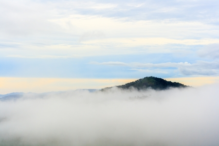 Morning on hilltop view of Krajom Mountain,Thailand  Stock Photo
