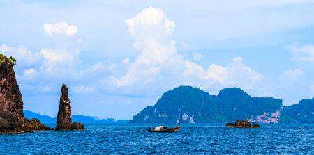 Wooden Fishing Boat on sea in Thailand  photo
